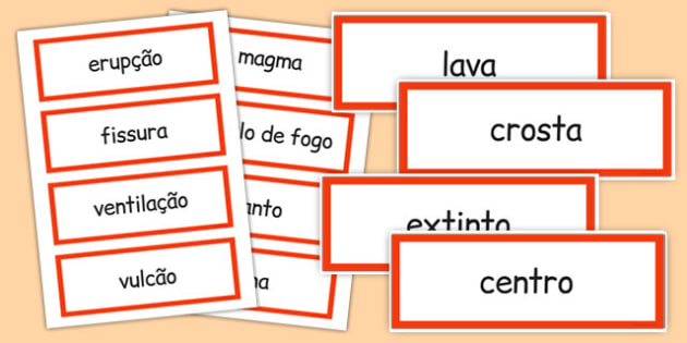 Volcano Word Cards Portuguese - portuguese, volcano, word cards, word, cards