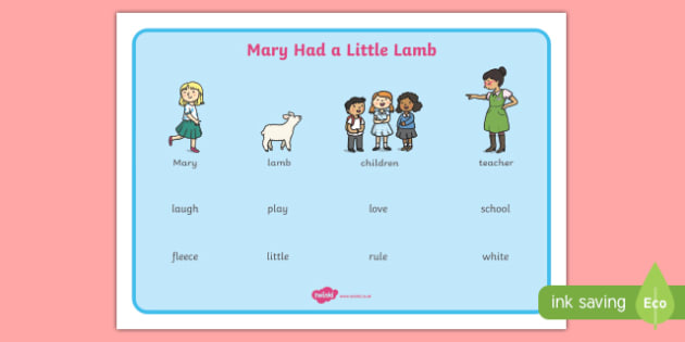 Mary Had a Little Lamb Word Mat - mary had a little lamb, nursery rhyme, rhyme, word mat