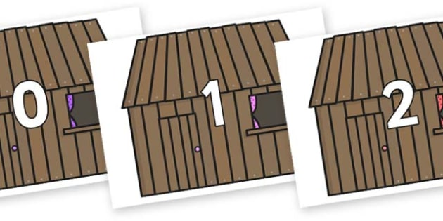 Numbers 0-100 on Wooden Houses - 0-100, foundation stage numeracy, Number recognition, Number flashcards, counting, number frieze, Display numbers, number posters