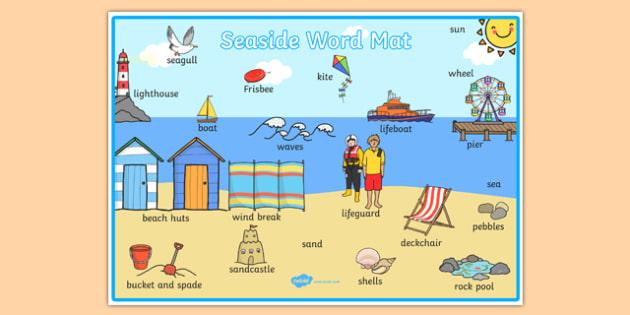 Seaside Themed Scene Word Mat - seaside, at the seaside, seaside word mat, seaside scene word mat, labelled seaside scene, seaside key words, beach