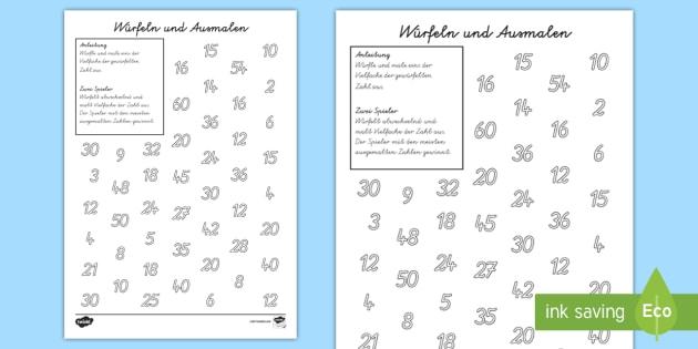 Würfeln und Ausmalen Arbeitsblatt - Würfeln und Ausmalen