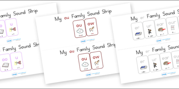 My Family Sound Strip Pack - sound family, visual aid, literacy