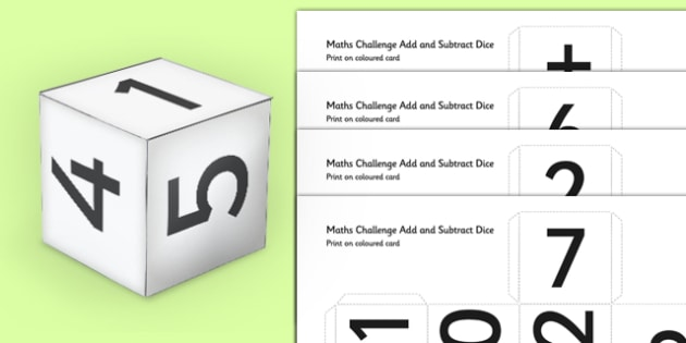 Maths Challenge Addition and Subtraction Dice - maths, challenge, addition, subtraction, dice