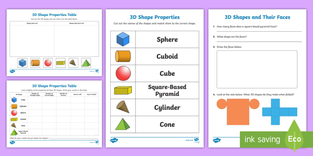 Properties Of 3d Shapes Worksheet Activity Sheets 3d