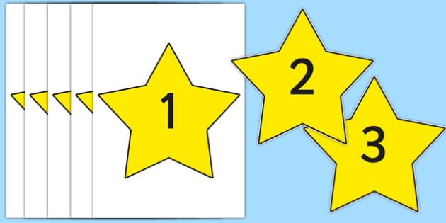 0-20 on A4 Yellow Stars - star, 0-20, number set, number, display