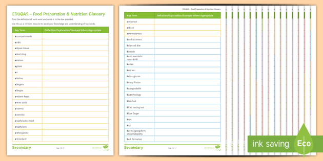 Eduqas Food Preparation & Nutrition Glossary of Terms Worksheet ...