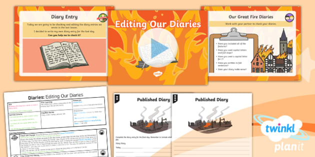 Time Travel: The Great Fire of London: Personal Writing 4 Y1 Lesson Pack -Samuel Pepys, Samuel Peeps, 1666, Pudding Lane, Charles II, diary writing, diary