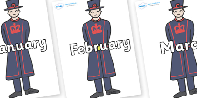 Months of the Year on Beefeaters - Months of the Year, Months poster, Months display, display, poster, frieze, Months, month, January, February, March, April, May, June, July, August, September