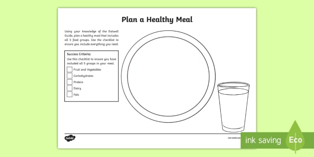 Plan a Healthy Meal Worksheet / Activity Sheet - CfE Healthy