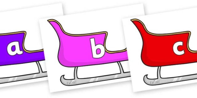 Phase 2 Phonemes on Christmas Sleighs (Multicolour) - Phonemes, phoneme, Phase 2, Phase two, Foundation, Literacy, Letters and Sounds, DfES, display
