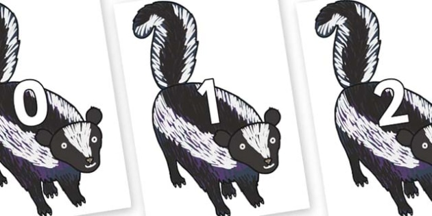 Numbers 0-100 on Skunk to Support Teaching on The Bad Tempered Ladybird - 0-100, foundation stage numeracy, Number recognition, Number flashcards, counting, number frieze, Display numbers, number posters