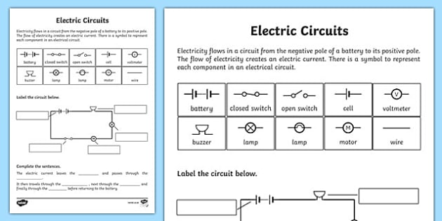 Electric Circuits Worksheet - electric circuits, circuits