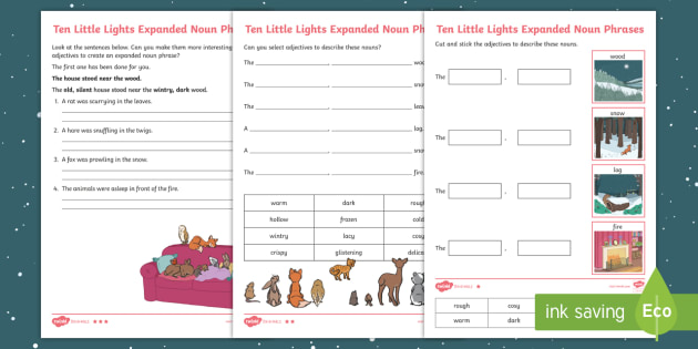 year 2 ten little lights expanded noun phrases differentiated worksheet. Black Bedroom Furniture Sets. Home Design Ideas