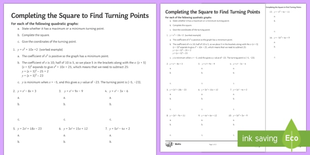 Completing the Square to Find Turning Points Worksheet / Worksheet