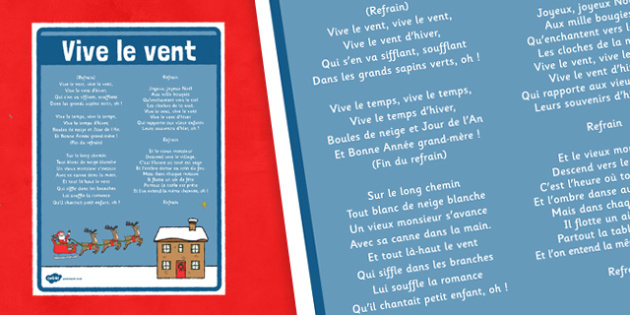 Vive le Vent Lyrics Poster French - french, vive le vent, jingle bells, christmas, lyrics, poster