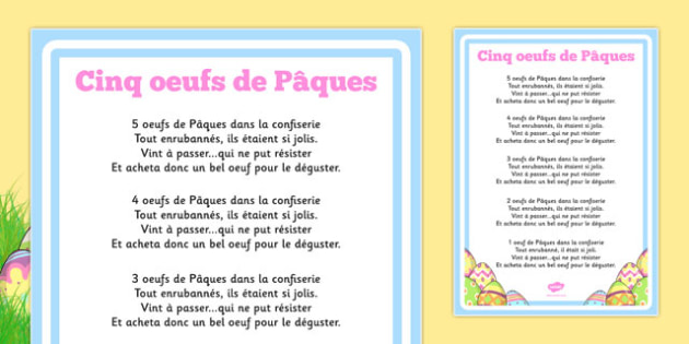 Cinq oeufs de Pâques Five Easter Eggs Counting Song Sheet French - french, counting, song, sheet