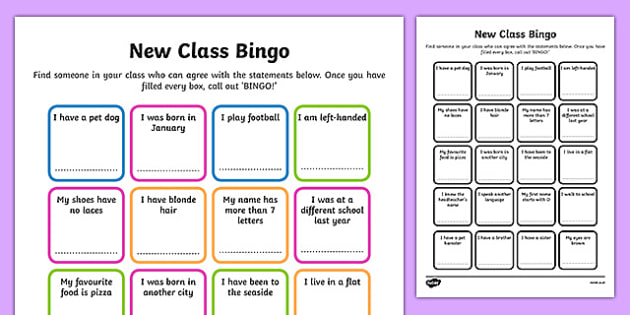 New Class Bingo - transition, games, classroom games