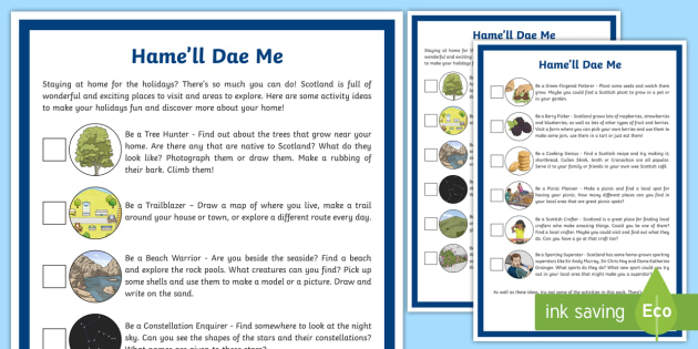Black and White CfE Hame'll Dae Me Activity Poster