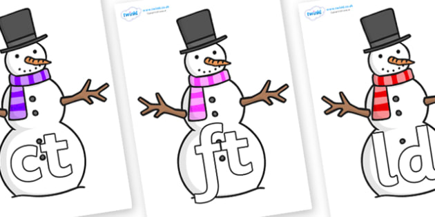 Final Letter Blends on Snowman - Final Letters, final letter, letter blend, letter blends, consonant, consonants, digraph, trigraph, literacy, alphabet, letters, foundation stage literacy