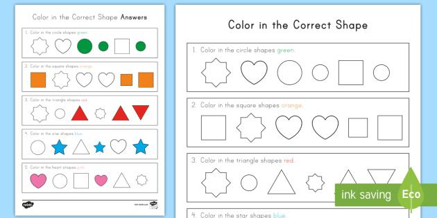 color in the correct shape recognition worksheet activity sheet common. Black Bedroom Furniture Sets. Home Design Ideas