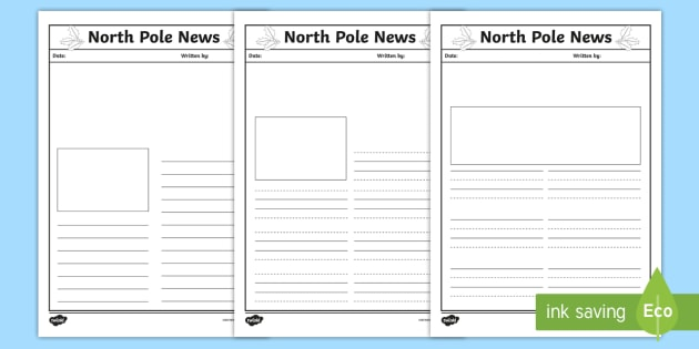 north pole news writing template ks1 eyfs letters