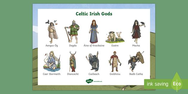 Irish Celtic Gods Word Mat-Irish