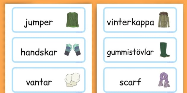 Winter Clothes Word Cards - winter clothes, word cards, winter, clothes - Swedish