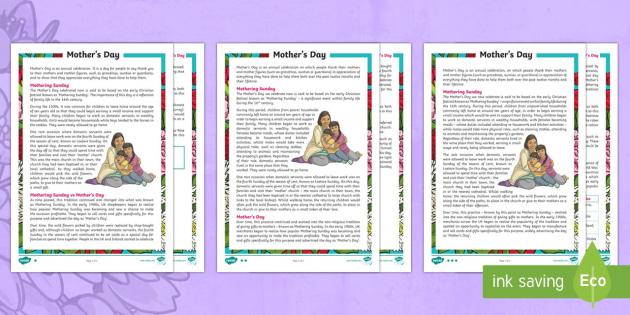 uks2 mother 39 s day differentiated reading comprehension activity mothering. Black Bedroom Furniture Sets. Home Design Ideas
