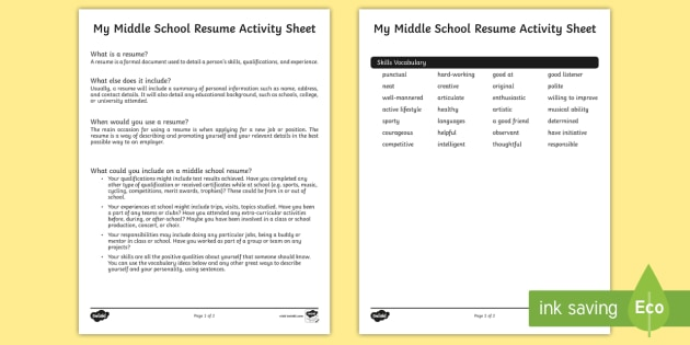 My Middle School Resume Worksheet