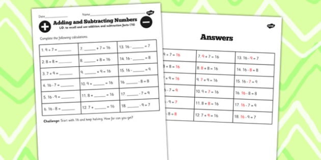 Number Facts to 16 Worksheet - number, facts, 16, worksheet, math