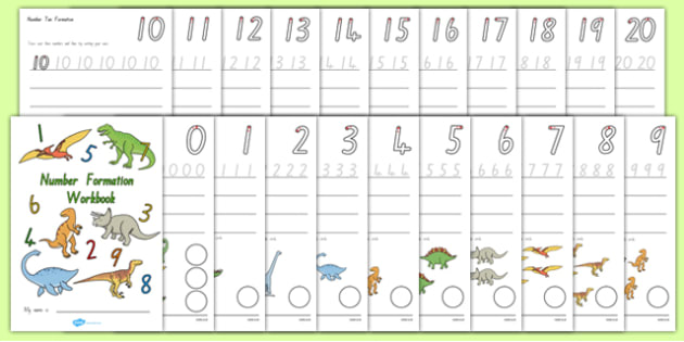 Number Formation Workbook Dinosaurs NZ - nz, new zealand, Number formation, tracing numbers, tracing sheet, 0-20 tracing, 0-20, dinosaurs, number writing practice, foundation stage numeracy, writing, learning to write, overwriting