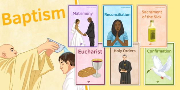 Seven Sacraments Display Posters - catholic, catholocism, church, display, god, re, religious, education, jesus