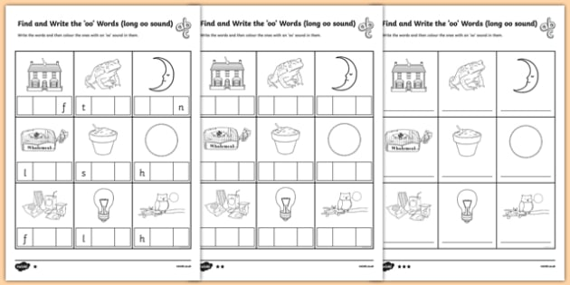Find And Write The Long Oo Words Sound Worksheet