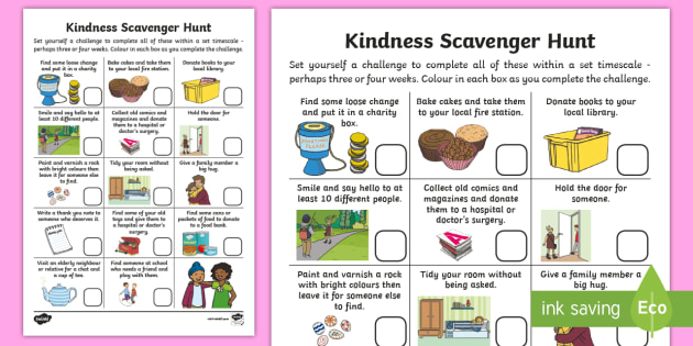kindness scavenger hunt worksheet activity sheet parents. Black Bedroom Furniture Sets. Home Design Ideas