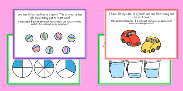 Fractions Challenge Cards Polish Translation - polish, fractions, challenge, cards, activity