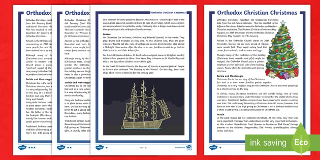 Orthodox Christmas Celebrations Differentiated Fact File - Orthodox Christmas, Christmas, celebrations, world