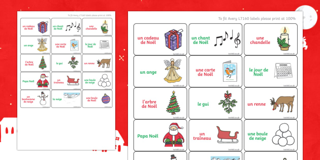 Christmas Terms Labels French - french, christmas terms, christmas, terms, labels, display