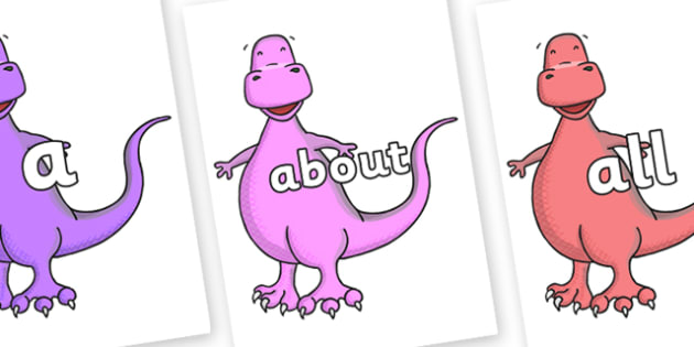 100 High Frequency Words on Tyrannosaurus - High frequency words, hfw, DfES Letters and Sounds, Letters and Sounds, display words