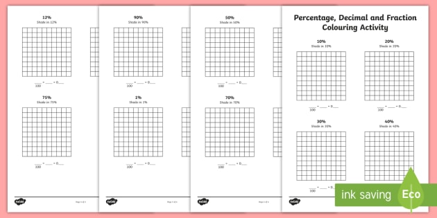 percentage decimal and fraction colouring worksheet activity sheet. Black Bedroom Furniture Sets. Home Design Ideas
