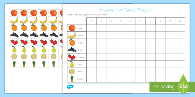 Favourite Fruit Pictogram - healthy eating, food, data handling