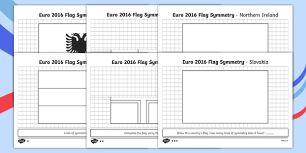 Euro 2016 Flag Symmetry Activity Sheet Pack - euro 2016, flag, symmetry, activity, football, worksheet