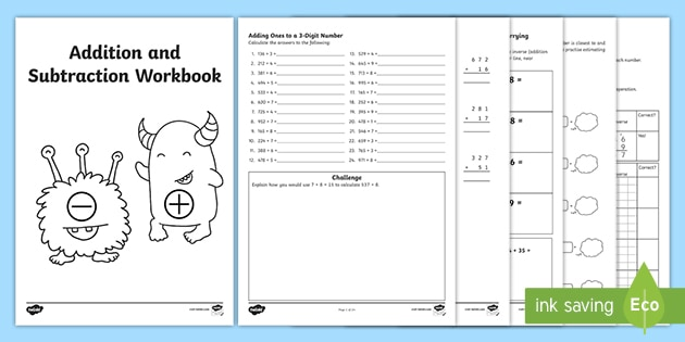 Maths Addition And Subtraction Workbook - Year 3 - Twinkl