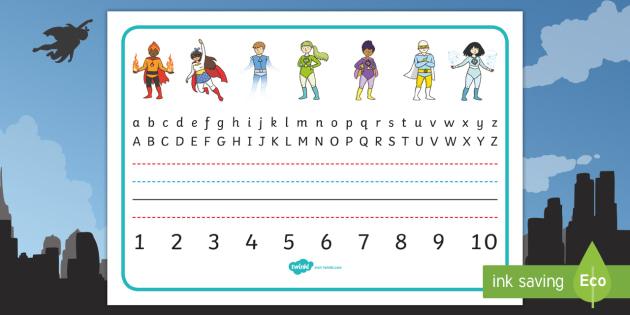 Superhero Desk Placemats to 10 Desk Mat - Superhero Desk Placemats to 10 - writing, aids, numbers, letters, alphabet, desk, , numbes, aplhabet