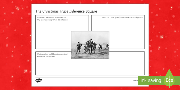 Christmas Truce Inference Square Worksheet Activity Sheet