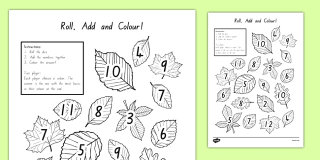 Leaf Roll and Colour Dice Addition Activity - nz, new zealand, leaf, roll and colour, dice, addition, addition activity, games, dice games, dice activities, colouring, adding