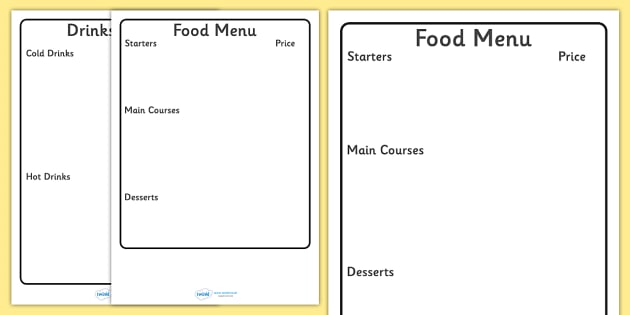 Menu Template For Kids  Editable Editable Menu Editable