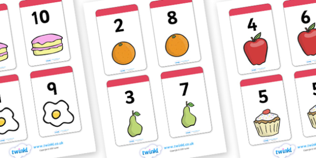Number Bonds to 10 Matching Cards (Food) - Number Bonds, Matching Cards, Food Cards, Number Bonds to 10