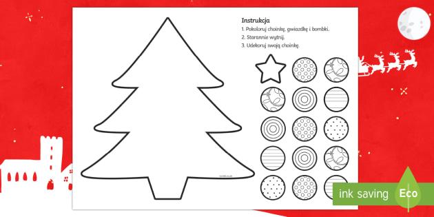Doskonalenie umiejętności wycinania Choinka - choinka, bombki, święta, gwiazdor, gwiazda, mikołaj, prezenty, boże narodzenie, bożonarodzeniow