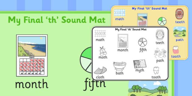 Final Voiceless 'th' Sound Word Mat - th sound, words, SLT, SALT