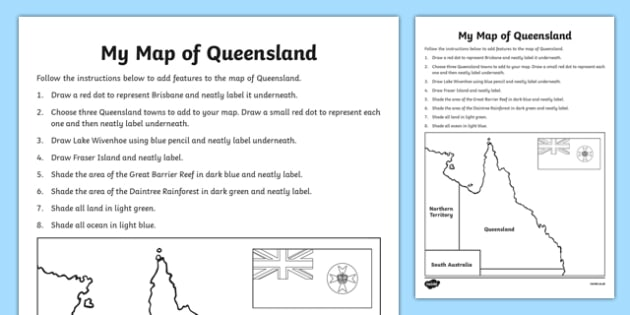 My Map of Queensland Activity Sheet - australia, Geography, map, mapping, Queensland, Brisbane, shading, labelling, states, territories, Australia, worksheet